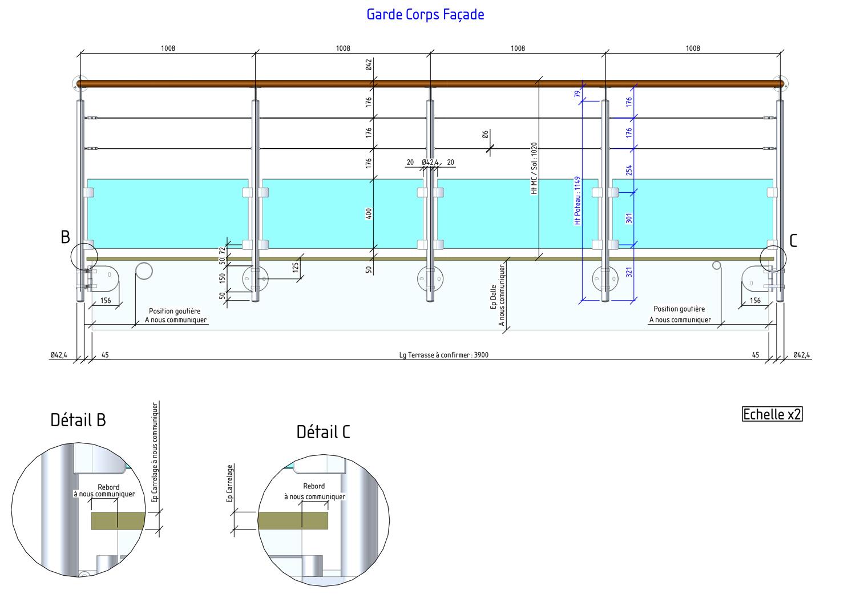 segment façade de la balustrade