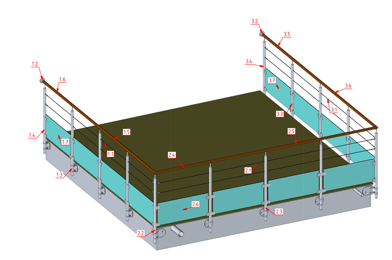 Plan de principe garde-corps toit terrasse